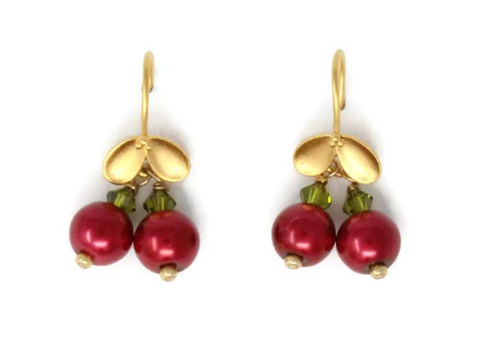 Holly Berry Earrings ~ Gold