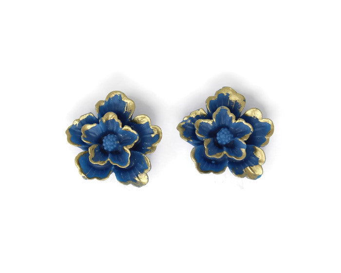 Large Single Bloom Studs ~ Blue Sakura