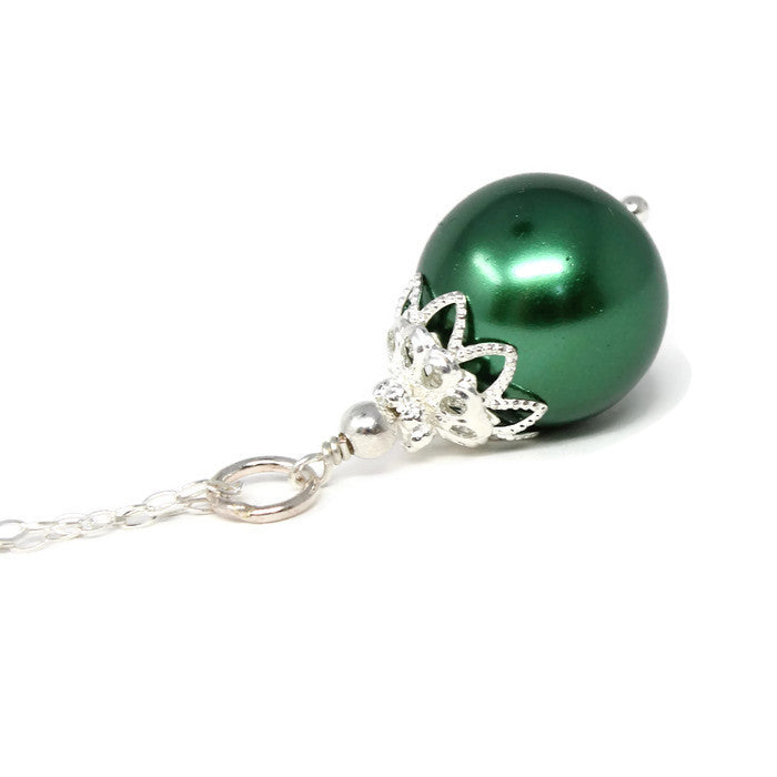 14mm Green Christmas Ball Necklace