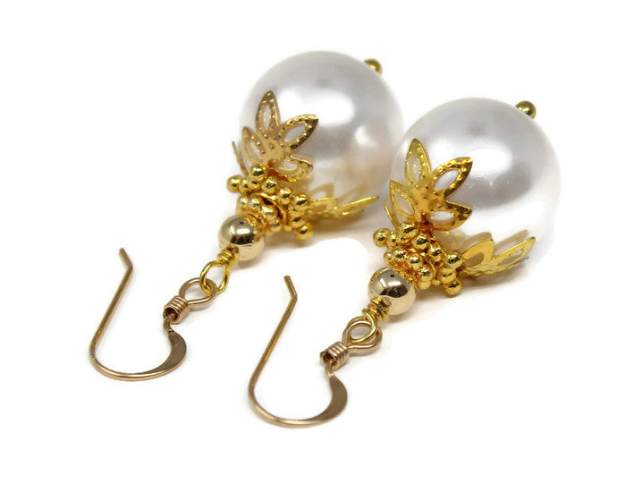 White Christmas Ball Earrings ~ 14mm Gold