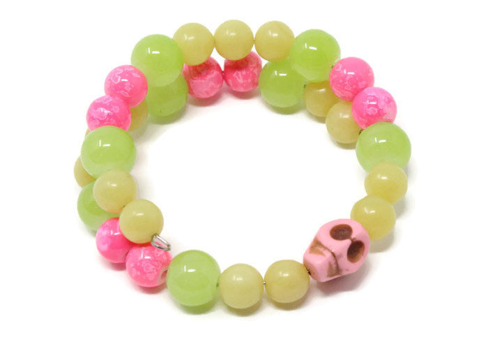 SMALL SKULL BRACELET ~ green yellow pink multicolor