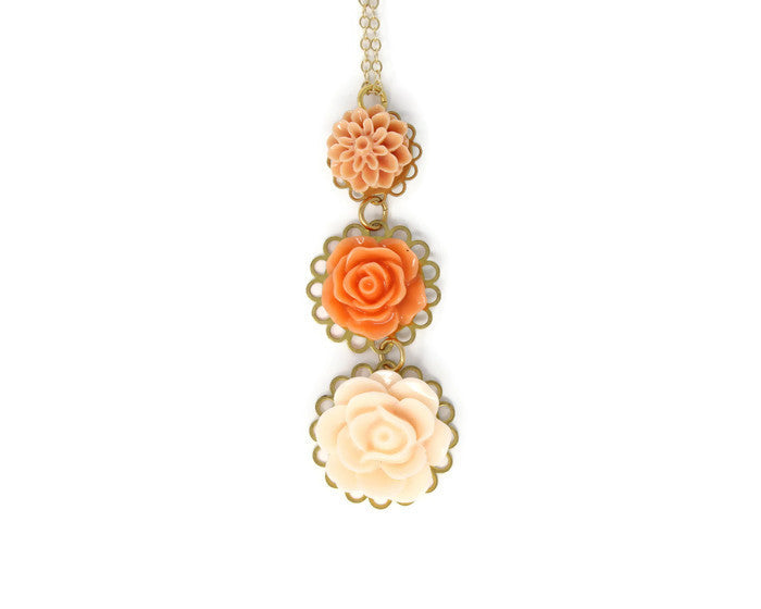 "Long-Stemmed Blooms Necklace 30"" ~ Tangerine Smoothie"