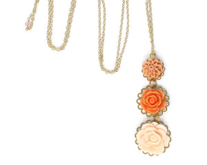 "Long-Stemmed Blooms Necklace 30"" in Tangerine Smoothie"
