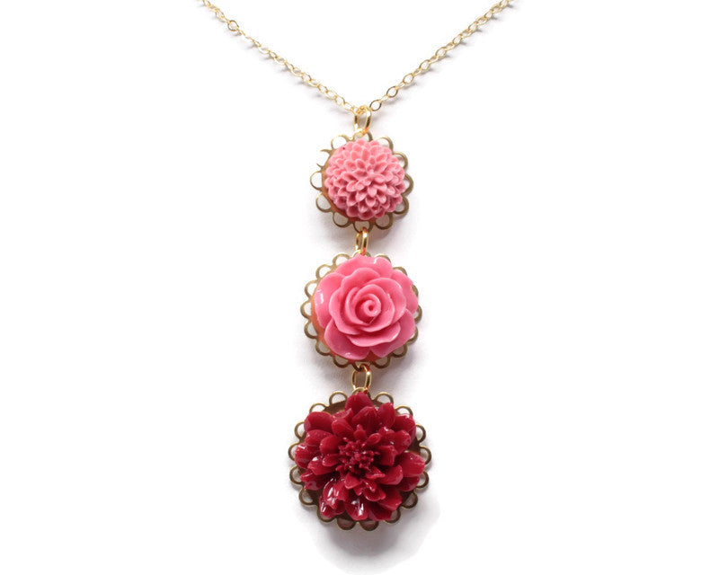 "Long-Stemmed Blooms Necklace 30"" ~ Berry Succulent"