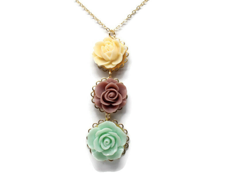 "Long-Stemmed Blooms Necklace 30"" ~ Green Tea 2"