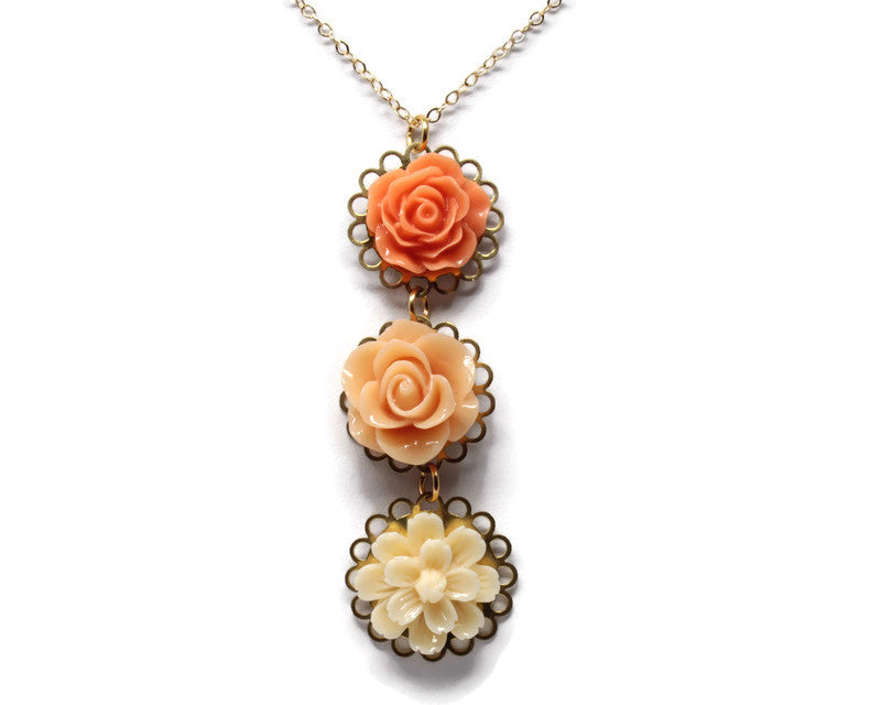 "Long-Stemmed Blooms Necklace 30"" ~ Peach Sparkler"
