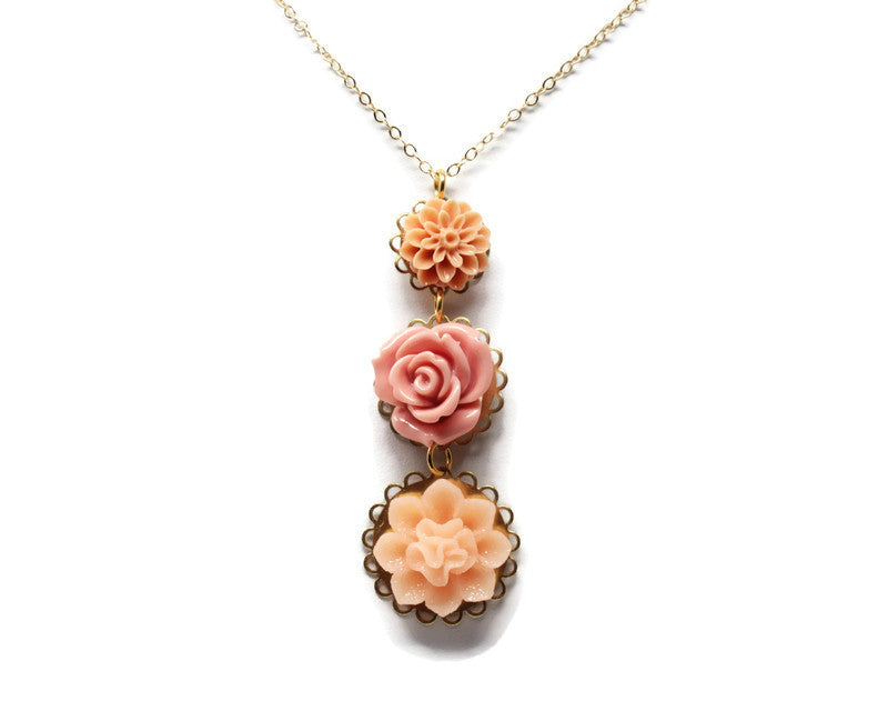 "Long-Stemmed Blooms Necklace 30"" ~ Rose Sparkler"