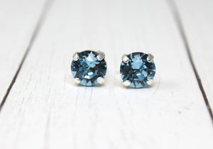 Happy 30th Birthday March Birthstone Stud Earrings in Aquamarine