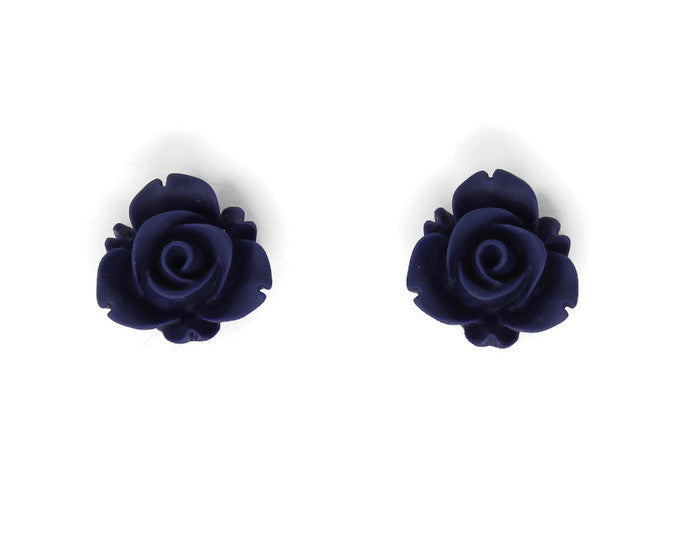 Single Bloom Studs ~ Matte Navy Blue
