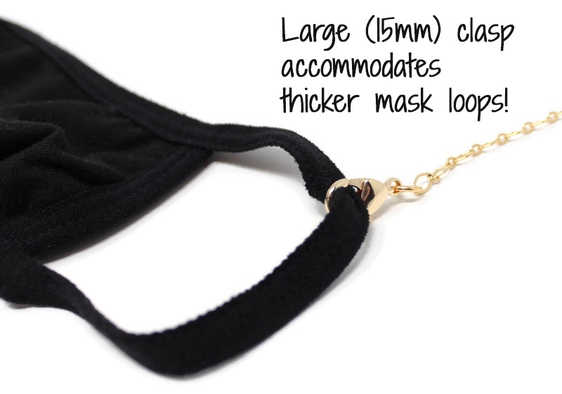 Convertible Mask Lanyard Necklace - Gold Curb Chain