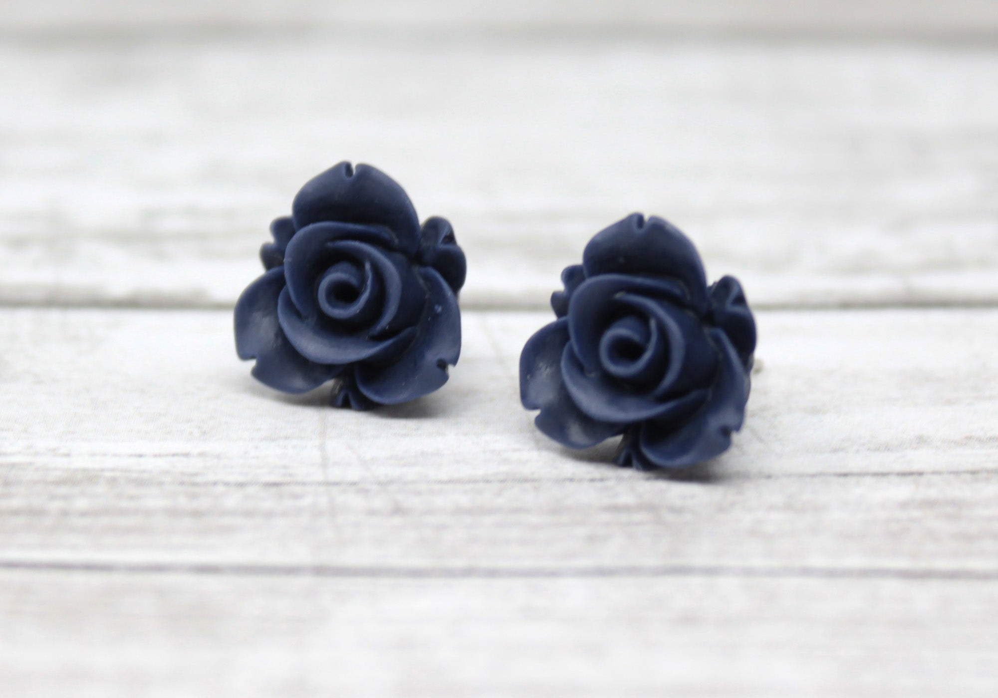 Large Bloom Studs in Matte Navy Blue