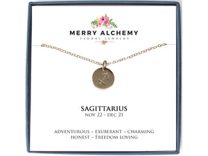 Sagittarius Zodiac Necklace in Gold Fill