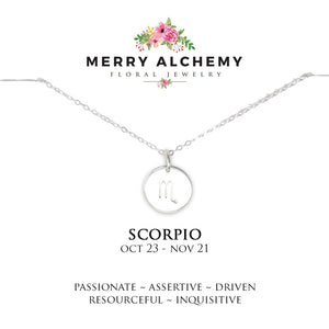 Scorpio Zodiac Necklace in Sterling Silver