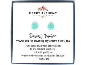 Flower Earrings Personalized Teacher Gift