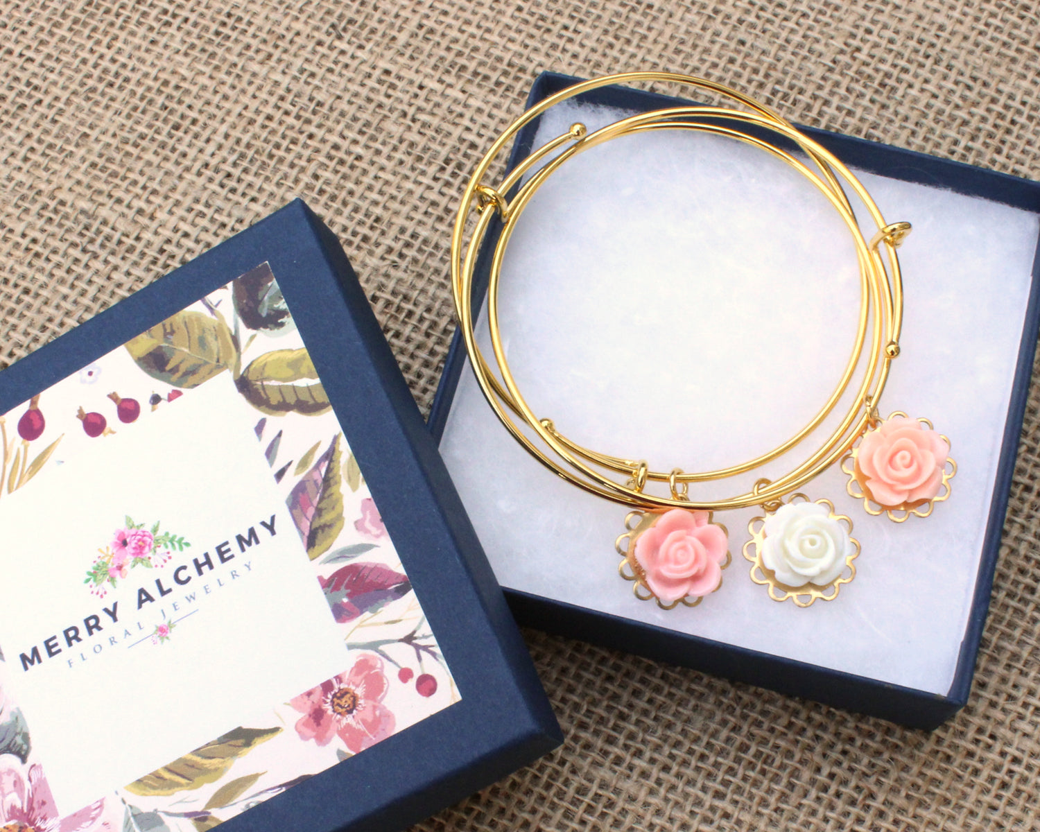 Tiny Petals Layering Bangle ~ Tiny Salmon Pink Rose