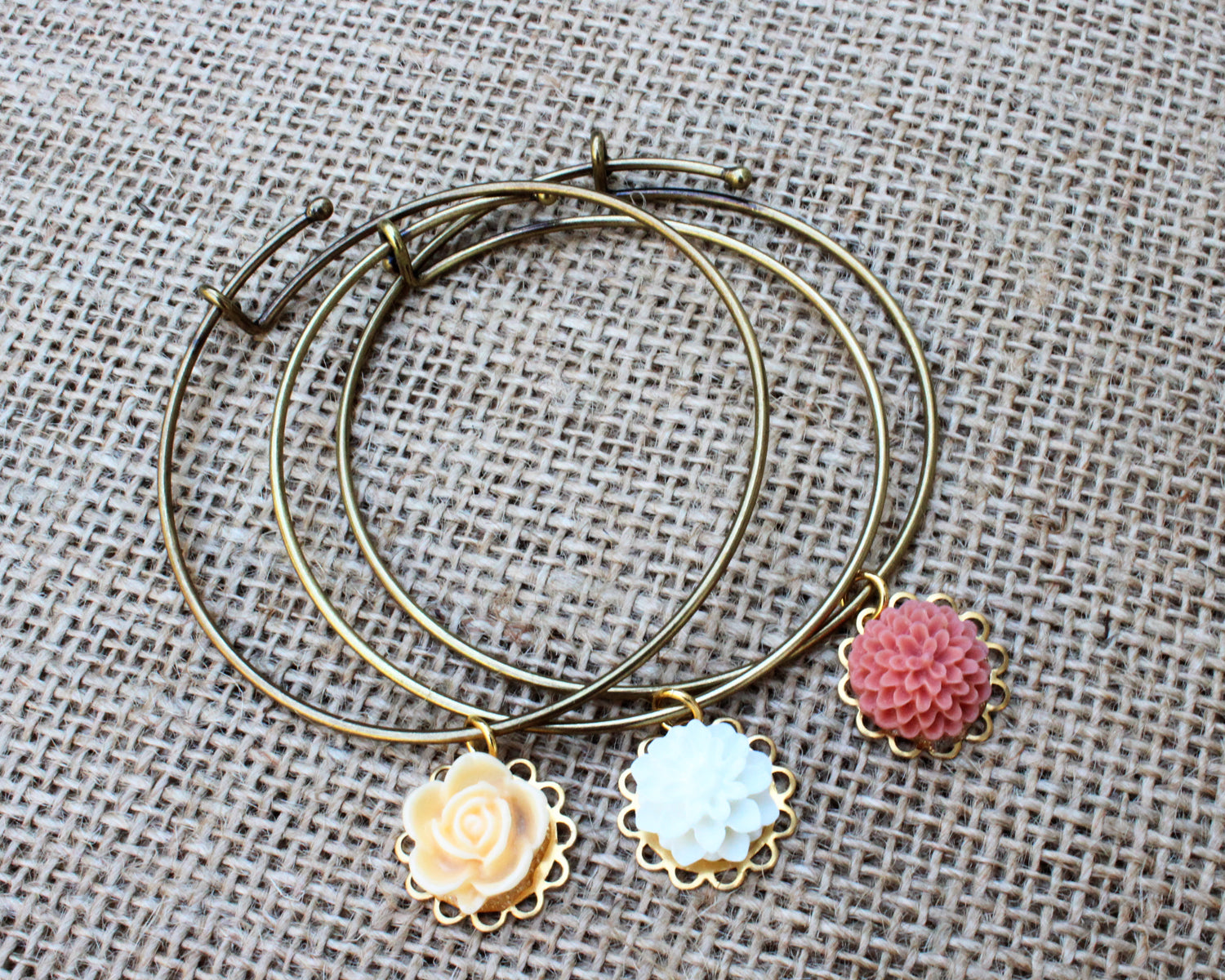 Tiny Petals Layering Bangle ~ Palest Candlelight
