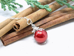 14mm Red Christmas Ball Necklace
