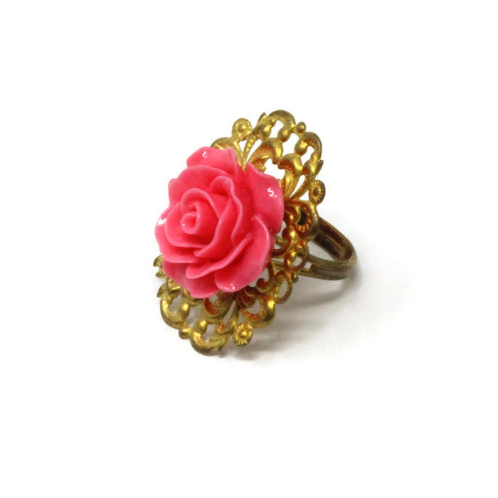 Ring Bouquet ~ Single Hot Pink Rose
