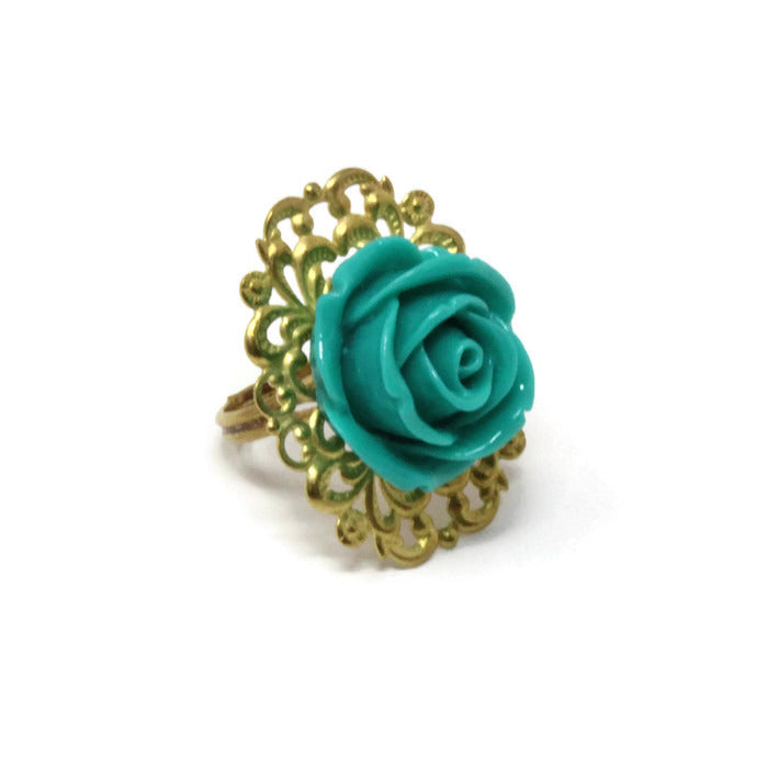 Ring Bouquet ~ Single Teal Rose