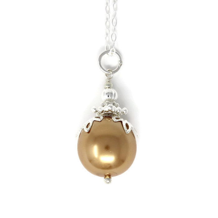 Gold Christmas Ball Necklace ~ 14mm