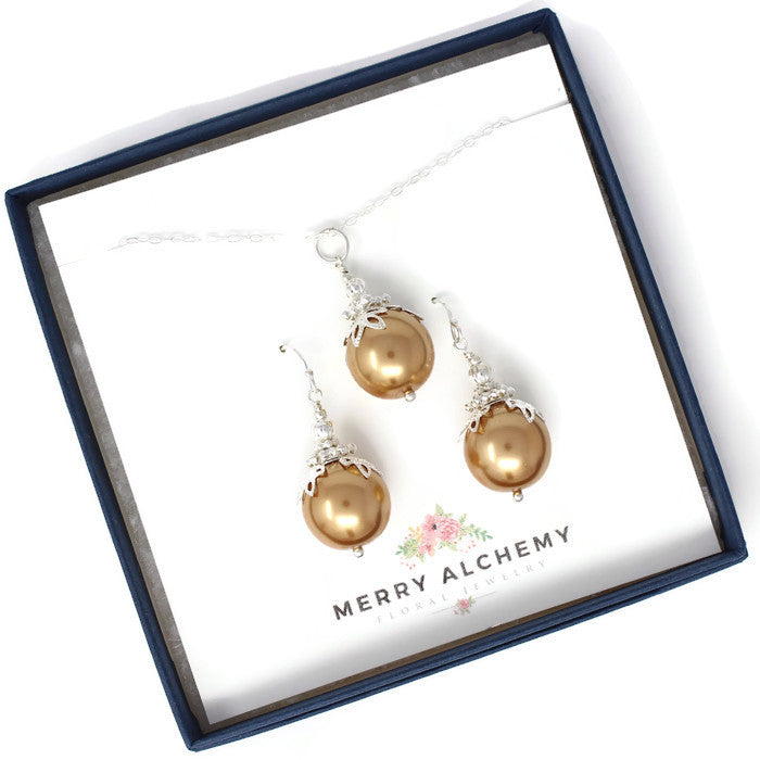 14mm Gold Christmas Ball Necklace & Earring Set