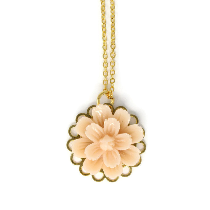 "Single Blooms Necklace 20"" ~ Blanched Almond Flower"