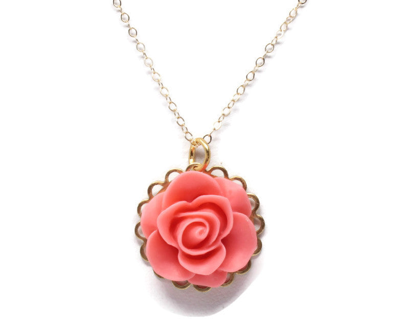 "Single Blooms Necklace 20"" ~ Matte Living Coral Rose"