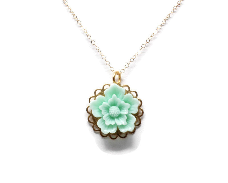 "Single Blooms Necklace 20"" ~ Mint Green Cherry Blossom"