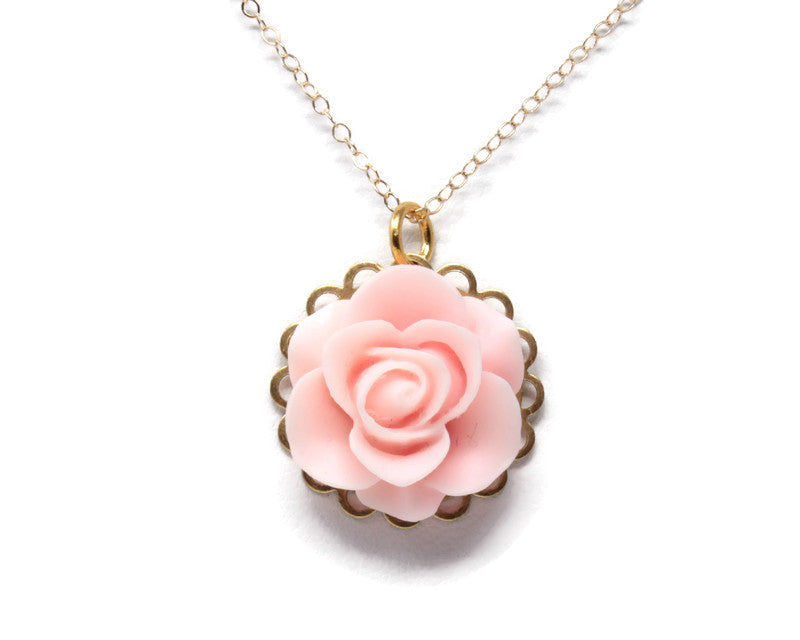 "Single Blooms Necklace 20"" ~ Matte Baby Pink Rose"
