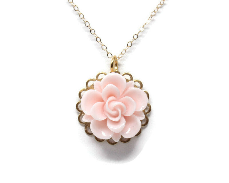 "Single Blooms Necklace 20"" ~ Pale Pink Succulent"