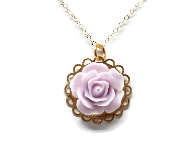 "Single Blooms Necklace 20"" in Pale Purple Rose"