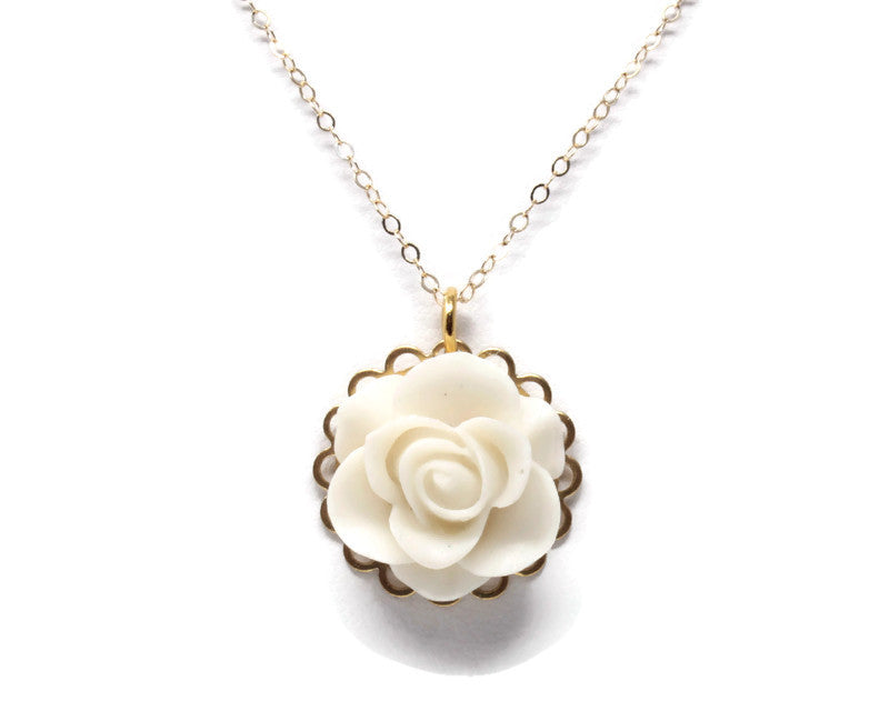 "Single Blooms Necklace 20"" ~ Matte White Rose"
