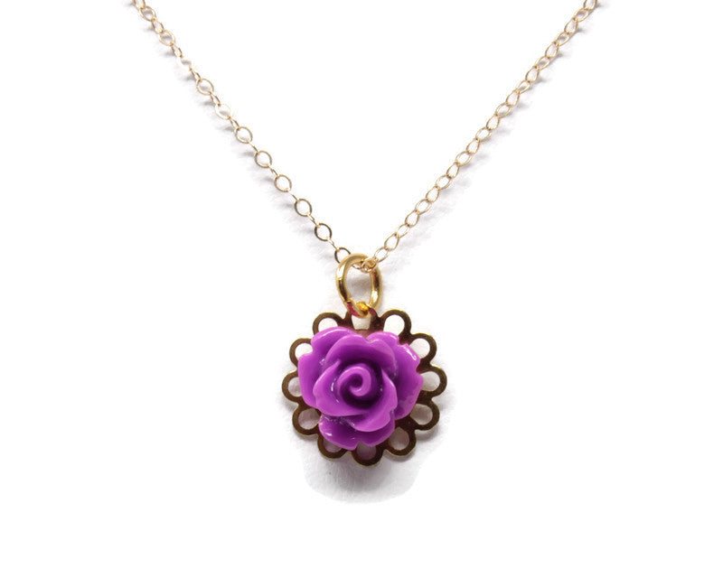 "Tiny Petals Layering Necklace 18"" ~ Byzantium Purple Rose"