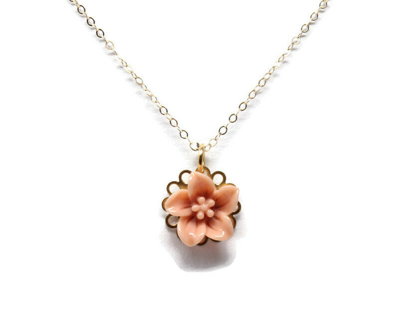 "Tiny Petals Layering Necklace 18"" ~ Dusk Pink Lily"