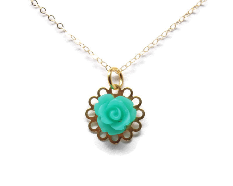 "Tiny Petals Layering Necklace 18"" ~ Frosted Teal Rose"