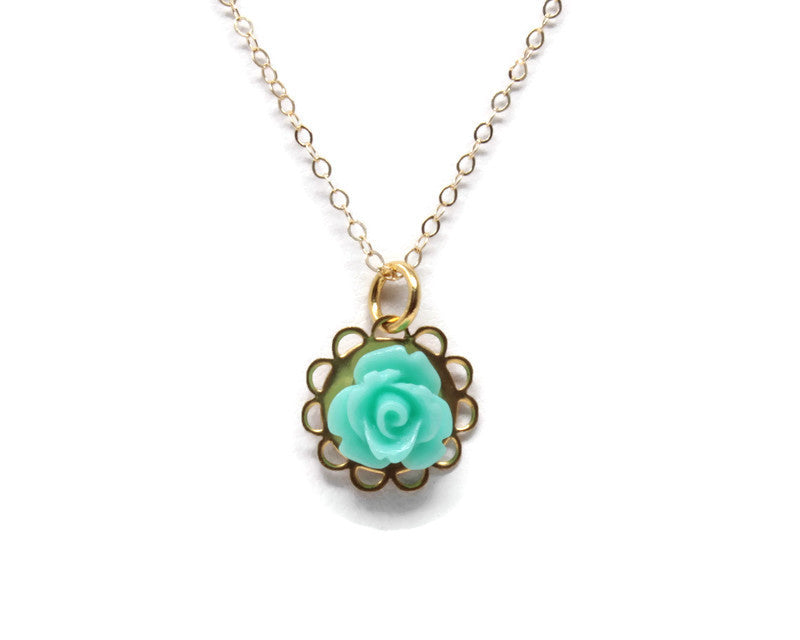 "16"" Tiny Petals Layering Necklace in Glossy Sea Foam Rose"