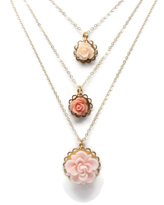 "Single Blooms Necklace 20"" ~ Fuchsia Rose"
