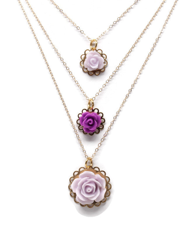 "Tiny Petals Layering Necklace 18"" ~ Thistle Purple Rose"