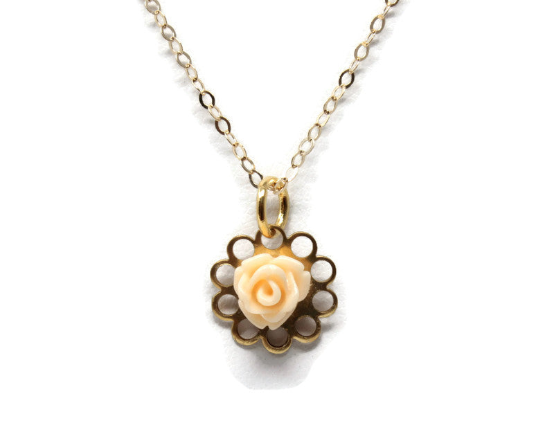 "Tiny Petals Layering Necklace 16"" ~ Tiny Pale Peach Rose"