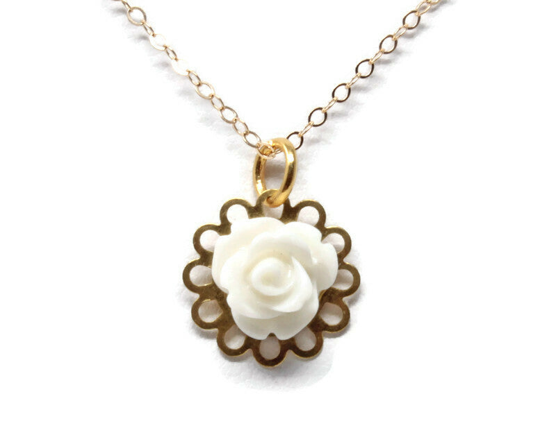 "Tiny Petals Layering Necklace 18"" ~ Glossy White Rose"