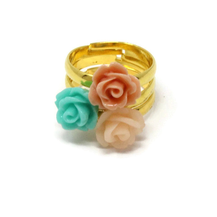 Sunlit Blooms Stacking Ring ~ Sea Foam Rose
