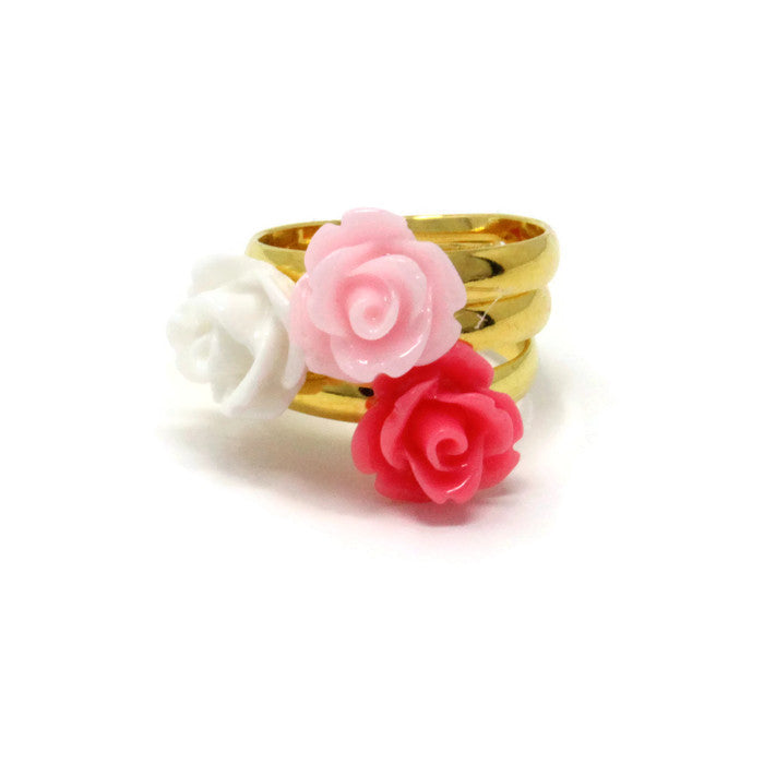 Sunlit Blooms Stacking Ring ~ Strawberry Pink Rose
