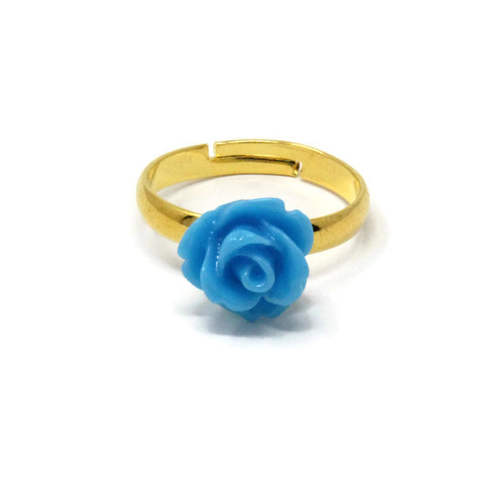 Tiny Petals Stacking Ring ~ Sky Blue Rose