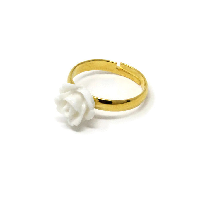 Sunlit Blooms Stacking Ring ~ White Rose