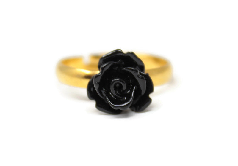 Hot pink gray black resin flower stacking rings set of 3