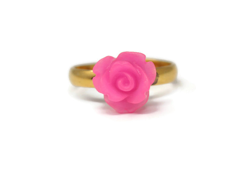 Tiny Petals Stacking Ring ~ Frosted Hot Pink Rose
