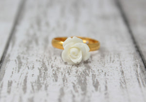 Tiny Petals Stacking Ring ~ White Rose