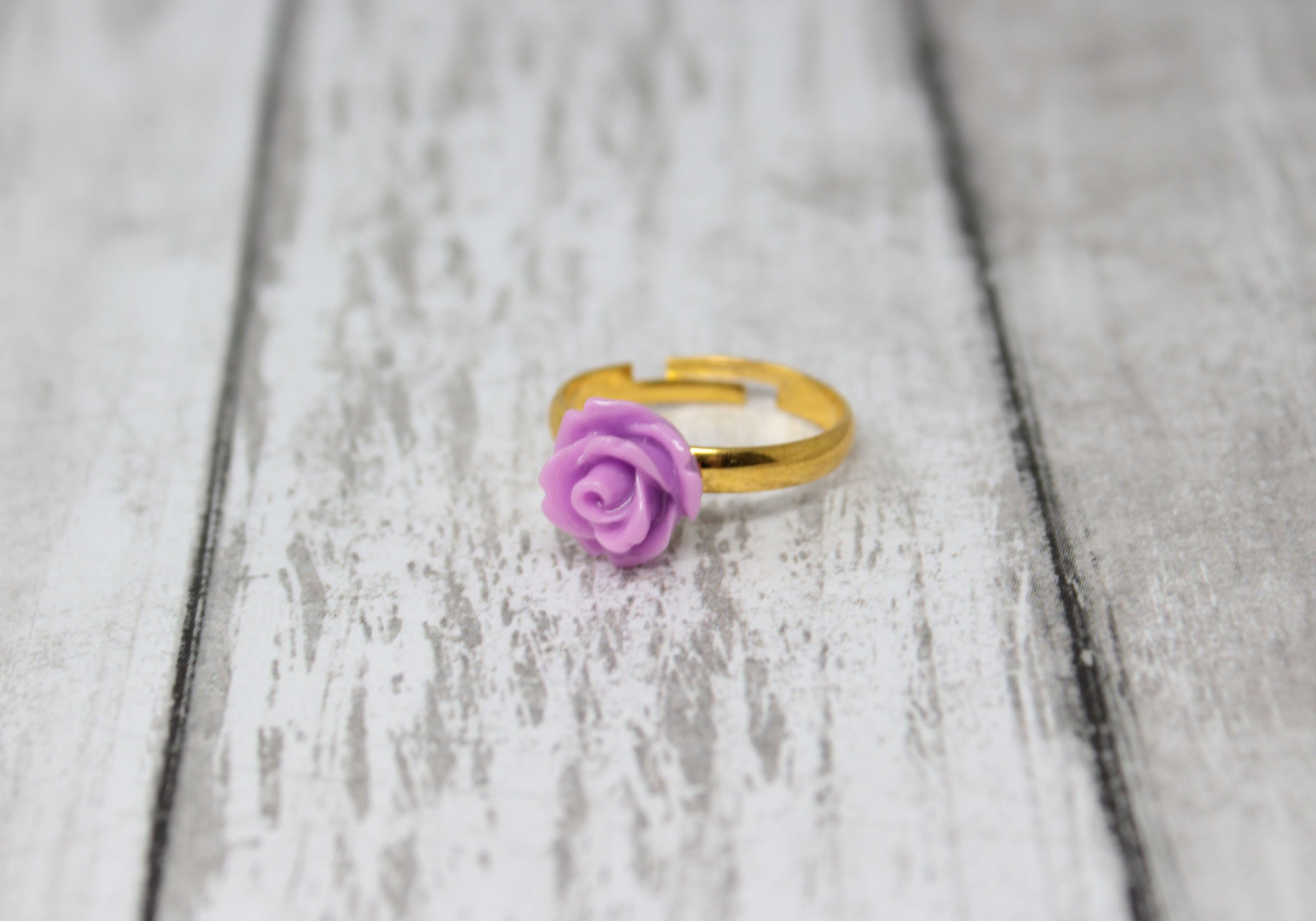 Tiny Petals Stacking Ring ~ Light Purple Rose