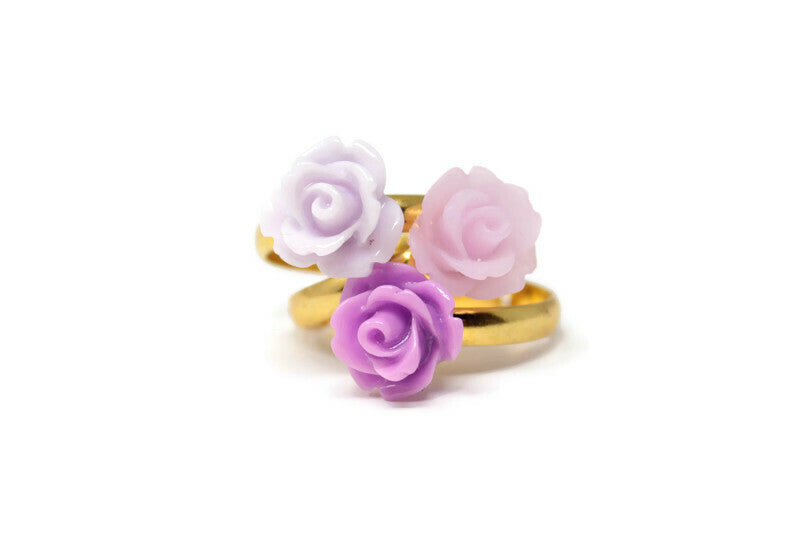 Tiny Petals Stacking Ring ~ Frosted Lilac Rose