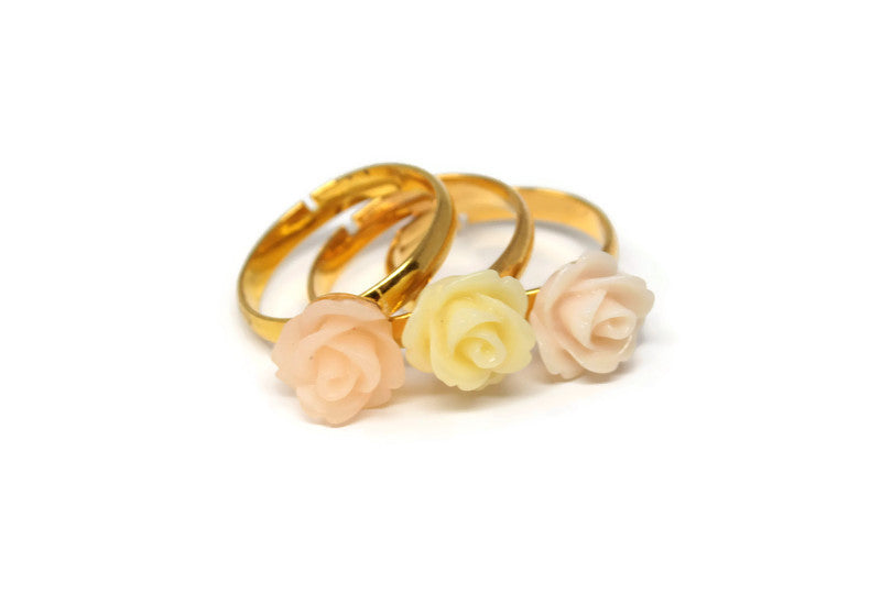 Tiny Petals Stacking Ring ~ Peach Bisque Rose